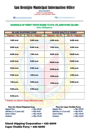 Schedule of Shipping Trips bound to Bantayan Island